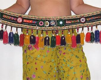 Tribal belt, Belly dance, Tribal tassel belt, Belly dance belt, Tribal mirror belt, Tribal fusion ATS belly dance belt, Gyspy belt, Tribal