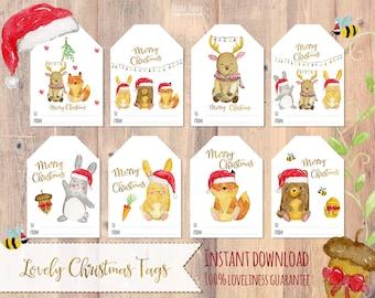 Christmas tags printable, Holiday Gift Tags christmas labels, animals,Christmas printable, Printable Christmas Tags, Printable Gift Tags