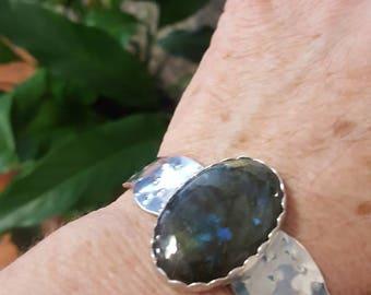 Labradorite cuff set in sterling silver