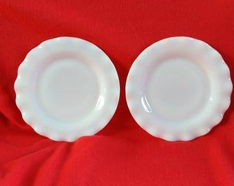 Hazel Atlas Ripple White Platonite Salad Plates 2 Crinoline Plates