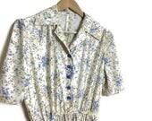 Wildflower vintage dress  boho summer dress  80s floral midi length dress  cream dress with wild flowers  boho 80s mid length dress