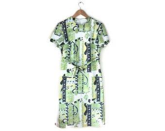 60s retro shift dress / green hippie vintage dress / stright A line dress / 60s 70s dress / mod / kings road / vintage short dress / UK 8