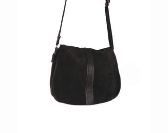 Black suede mini crossbody bag