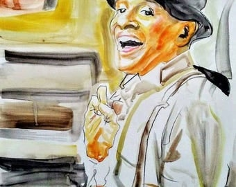 Al Jarreau Portrait Jazz Singer Tuxedo Watercolor Illustratior Wall Decor Limited Edition Poster Print