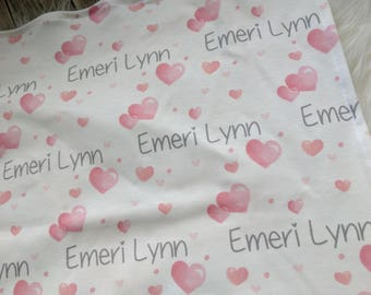 Personalized pink heart swaddle blanket: baby and toddler personalized name newborn hospital gift baby shower gift