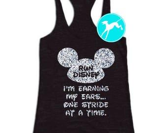 Run disney Mickey Tank glitter earning ears stride black Shirt Top Razorback tank top Training run running dri fit youth toddler baby girls