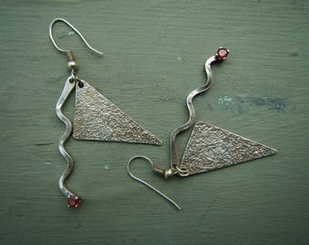 Vintage Sterling Silver 925 Mid Century design drop earrings.