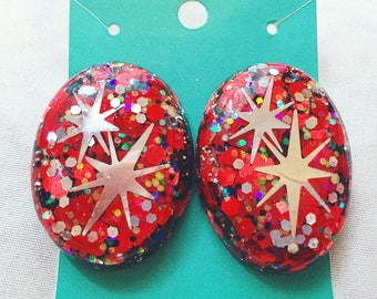 Fiery Vixen Atomic Starburst Confetti Lucite Earrings