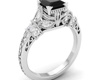 Black Diamond Engagement Ring, 14K Gold Ring,White Gold, Princess Cut, Vintage Look Ring, Black Diamond Ring, Wedding Ring, Certified Ring