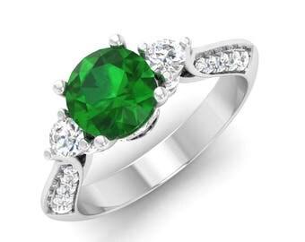 Green Gemstone Rings, AAA Emerald Engagement Ring, 14K White Gold, Three Stone Ring, Anniversary Ring, Wedding Ring, Natural Emerald Rings