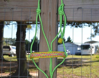 "1/4"" Premium  rope halter with braided paracord noseband"