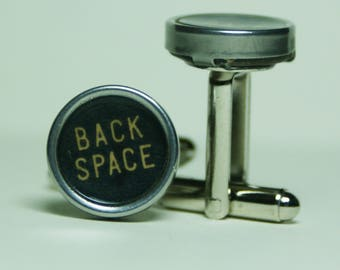 "Antique Typewriter Key Cufflinks ""BACK SPACE"" Key FREE Gift Bag"