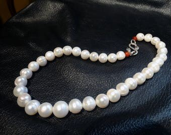 Genuine Pearl Necklace, Round Cultured 13 mm, Sterling Clasp