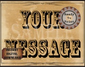 CustomWild West Sign Printable Your Message Personalized Aged Paper Western Wedding Event Party Decor ~ Film TV Premiere Decoration JPG File