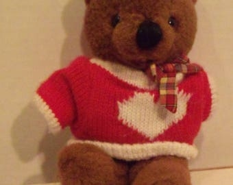 Brown Bear Red Heart Sweater