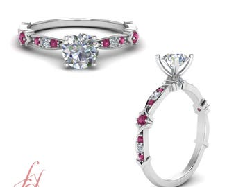 Petite Engagement Ring 0.75 Carat Round Cut Diamond And Sapphire GIA Certified