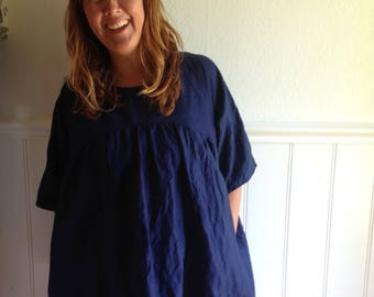 CUSTOM ORDER size Small Clothing Womens Gatherer Dress Smock Linen Cotton Sustainable Eco Handmade Blue Pockets