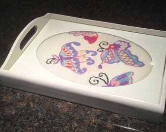 Vintage Beautiful White Needlepoint Butterfly Wood Handled Tray