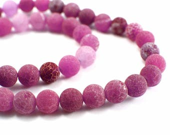 Cracked Agate beads 10 x 8mm Frosted pink