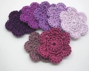 7 flowers crochet purple 3.5 cm