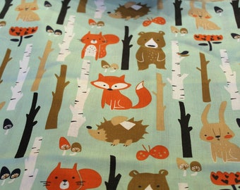 Fabric coupon 50 x 70 cm animals of the forest