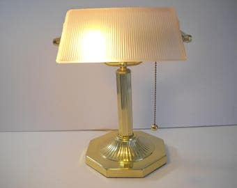 Light Pink Banker's Lamp with Gold Octagon Base