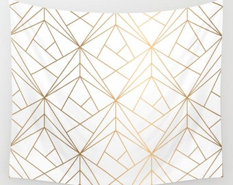 Geometric Gold Pattern Wall Tapestry, White Wall Tapestry, Wall Hanging, Gold Wall Tapestry, Tapestry, Bohemian Hanging, Boho Wall Tapestry
