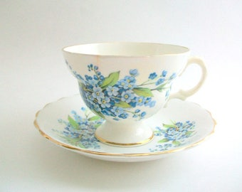 Vintage Teacup Set, Forget Me Not Teacup, Blue Floral Teacup Set, Blue Teacup Set, Floral Teacup Set, Teacup & Saucer, Teacup Set, Blue and