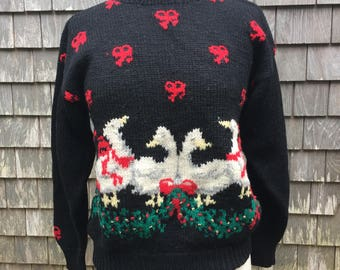 UGLY CHRISTMAS SWEATER! With Geese, Holly, and Bows, Size Medium/Large