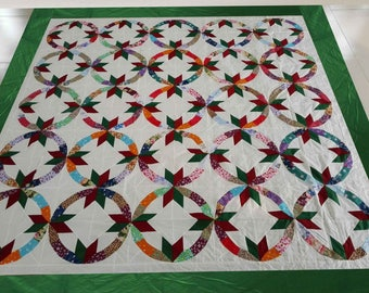 Machine Pieced Patchwork Double Wedding Ring  Quilt top#83