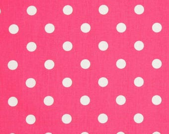 Hot Pink Polka Dot by the BOLT Wholesale fabric yardage home decor nursery pillows upholstery Premier Prints Candy Pink on white 30 yards!
