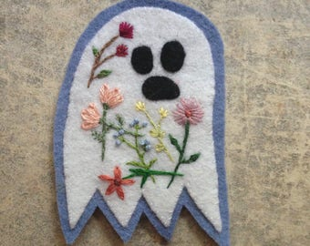Ghost patch with embroidered flowers