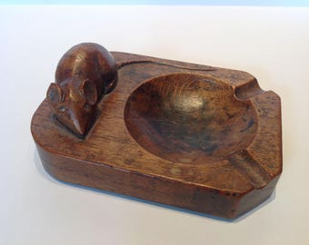 """RESERVED/SOLD ~~ Please do not buy! 1940s Robert """"Mousey"""" Thompson Carved Oak Ashtray. Mouseman Oak Carvings."""