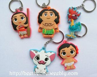 Keychain PVC Kawaii Disney Moana - 2 sizes - Moana, Baby Moana, Maui, Pua the pig or Heihei the rooster