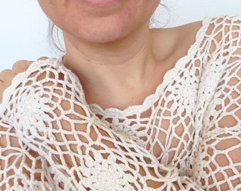 Crochet top - vintage 90's - sheer cotton - L / XL (AU 12-14)