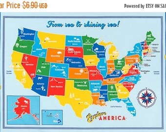 VACATION SALE 1 Panel of EXPLORE America by Anderson Design Group for Robert Kaufman Bright Us Map Panel