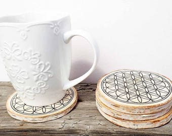 Flower of life birch wood coasters ... set of 4