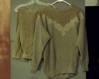 Spiegel Together Sweater with cord look insert and pants- loden green.