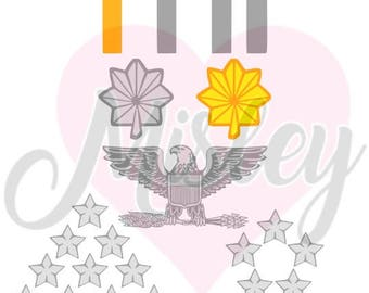 US Armed Forces Commissioned Officers Insignias Bundle SVG, PNG, and STUDIO3 Files for Silhouette Cameo/Portrait and Cricut Explore Cutters