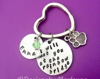 Pet Memorial, Pet Loss Jewelry, Memorial Key Chain, Rainbow Bridge, Sympathy Gift, RIP Pet, Cat, Dog Remembrance, Angel With Paws, Heaven