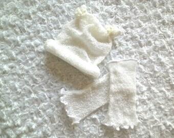 Baby Photography Knit Set Hat & Overknee-Cuffs Newborn Prop ruffle legwarmer WHITE