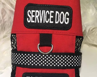 Dog Service Vest /Therapy / RED / XS / Service Dog patch at top / polka dot / In Training