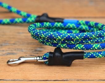 Climbing Rope Dog Leash // Blue Green Yellow Dog Leash // Upcycled Dog Leash // 6' Leash