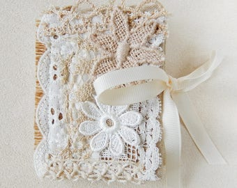 Handmade Needle Book using vintage laces and trims.  Cream Beige. Needle Case, Sewing gift