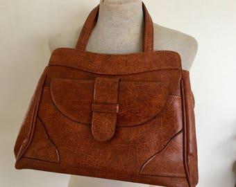 Vintage 1970s Brown Faux Leather Vinyl Ladies Bag Handbag