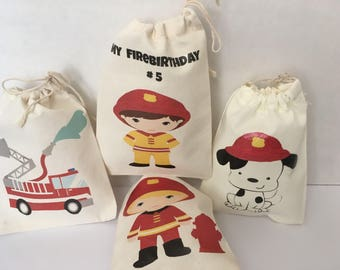 Favor bags Firefighters  party. Firefighters goodies bag. Firefighters party.