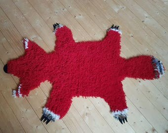 Red Wool Rug, Fluffy Red Fox Rug. Handmade Soft Wool Rug, Animal Rug