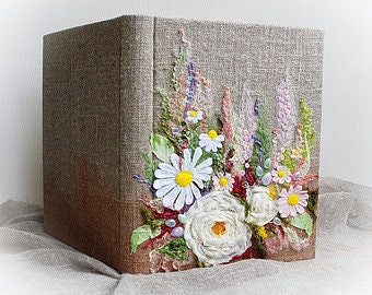 Classic photo album, Elegant Wedding photo album, Anniversary wedding, Large linen album with embroidered flowers Textile art Ready to ship