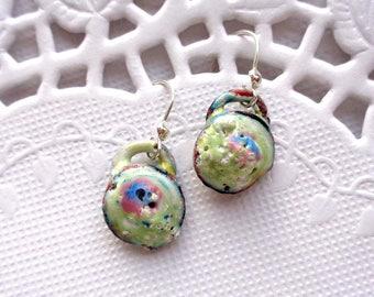 Copper Enamel Earrings, Experimental Enamels, Kiln Fired Enamel Earrings!