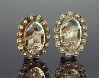 Clip On Earrings, Antique Silver and Rose Gold, Parthenon Design